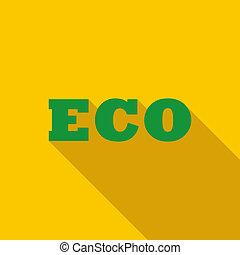 eco, icône, style, plat