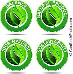 eco, icônes, 1, ensemble, vert