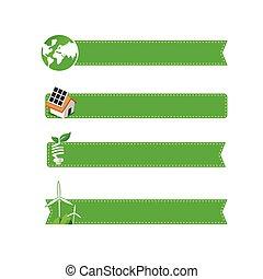 Eco icon ad tag ribbon banner, vector illustration