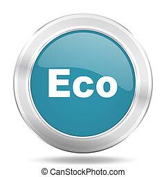 eco icon, blue round glossy metallic button, web and mobile app design illustration