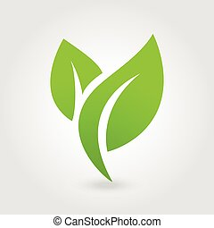Eco icon green leaf vector illustration isolated.