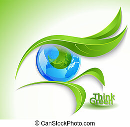 "Eco icon ""Look green"" - eye with lashes-leaves"