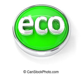 Eco icon on glossy green round button