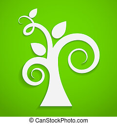 Eco icon. Paper tree