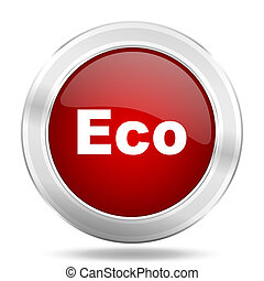 eco icon, red round glossy metallic button, web and mobile app design illustration