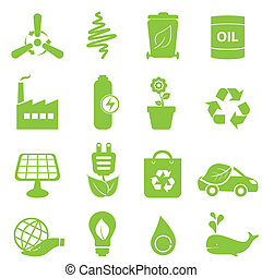 Eco icon set - Eco, recycling and clean energy icons