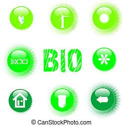 eco icon set green button