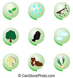 Eco icon set on white background