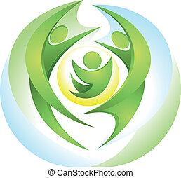 eco-icon, vert, famille, heureux