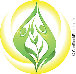 Eco-icon with green dancers