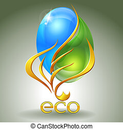 Eco-icon with yin-yang and gold leaf