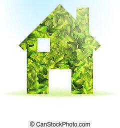 Eco casa leaves ecologico verde logo icona eco for Design eco casa verde