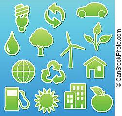 eco, icona, verde, set