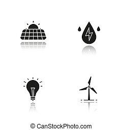 eco, iconen, energie, black , schaduw, set, druppel