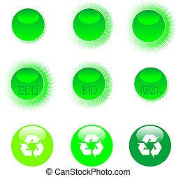 eco, icono, conjunto, verde