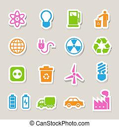 eco, iconos, set., energía