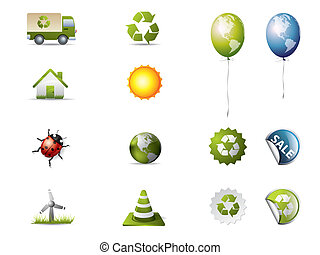 Eco icons isolated on white
