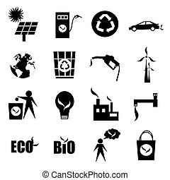 eco icons set, isolated on a white