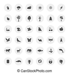 eco icons set on white background, vector.