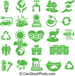Eco Icons Silhouettes - Set of green silhouette vector icons...