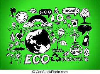 eco, idee, vriendelijk, schets