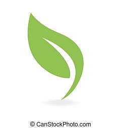 eco, ikona, zielony liść