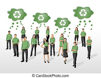 people in green clothes