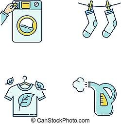 eco, illustrazioni, set., bucato, rgb, asciutto, esterno, service., tessuto, isolato, cura, vettore, drying., vapore, lavaggio, colorare, moneta, vestiti, washateria, giallo, icone, blu, pulizia