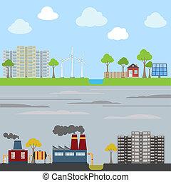 eco, industriel, concept, ville
