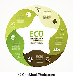 Eco infographic, diagram, 5 options, parts, steps.