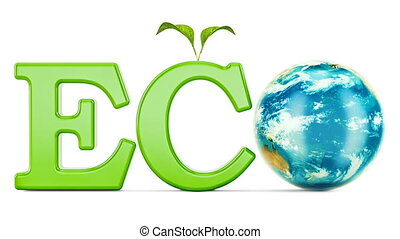 Eco inscription with rotating Earth Globe, 3D rendering...