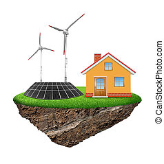 eco island - The house with wind turbine and solar panel...