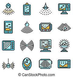 eco, jogo, apartamento, ícones, sounder