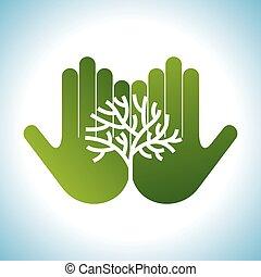 eco, kézbesít, barátságos, fa