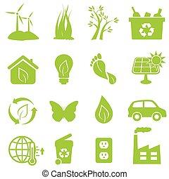 eco, környezet, ikonok