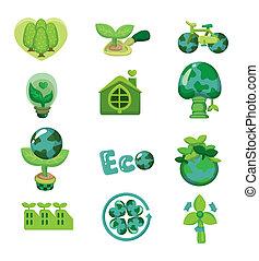 eco, karikatúra, ikon