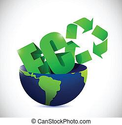 eco, klot, design, illustration, halvt