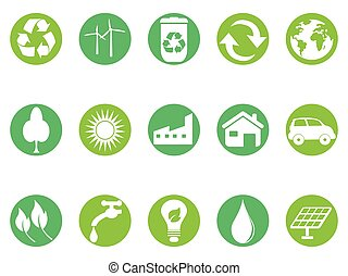 eco, knapp, sätta, grön, ikonen