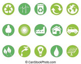 eco, knoop, set, groene, iconen