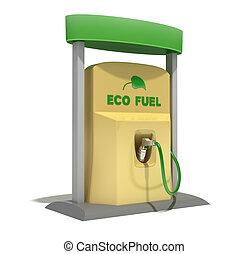 eco, kraftstoff, weißes, station, freigestellt