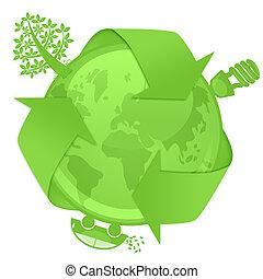 eco, kula, z, drzewo, energia, bulwa, hybryd, wóz