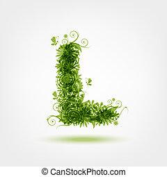 eco, l, desenho, letra, verde, seu