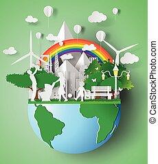 eco, la terre, day., amical, papier, art, illustration, famille, vecteur, environnement, concept