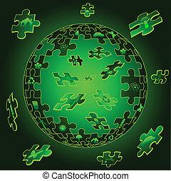 eco, la terre, morceaux puzzle