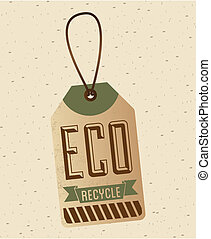eco label over pattern background vector illustration