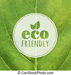 Eco Label With Leaf Texture
