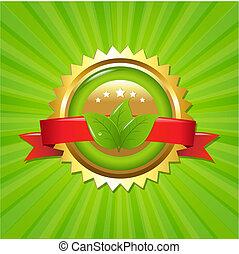 Eco Label With Sunburst