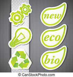 eco, labels., icônes, ensemble, vecteur, vert