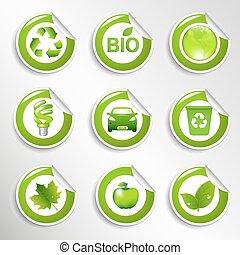Eco Labels Set - 9 Eco Labels, Vector Illustration