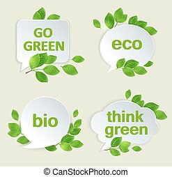 Eco labels with green leaves